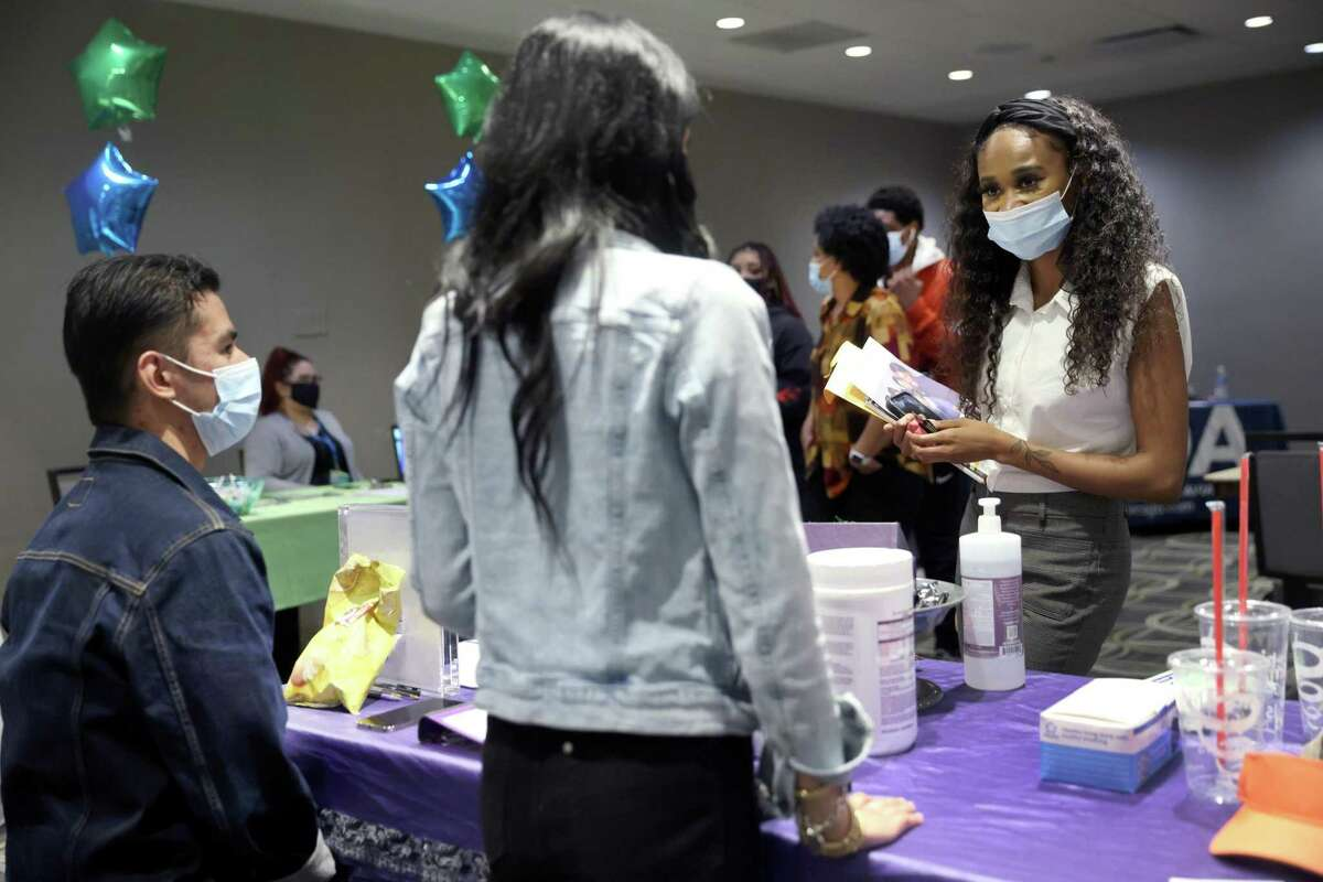 A May 2021 job fair in Chicago. On May 20, 2021, the Connecticut Department of Labor announced that recipients of unemployment compensation will need to resume their job search activities and retain documentation in order to continue receiving assistance.