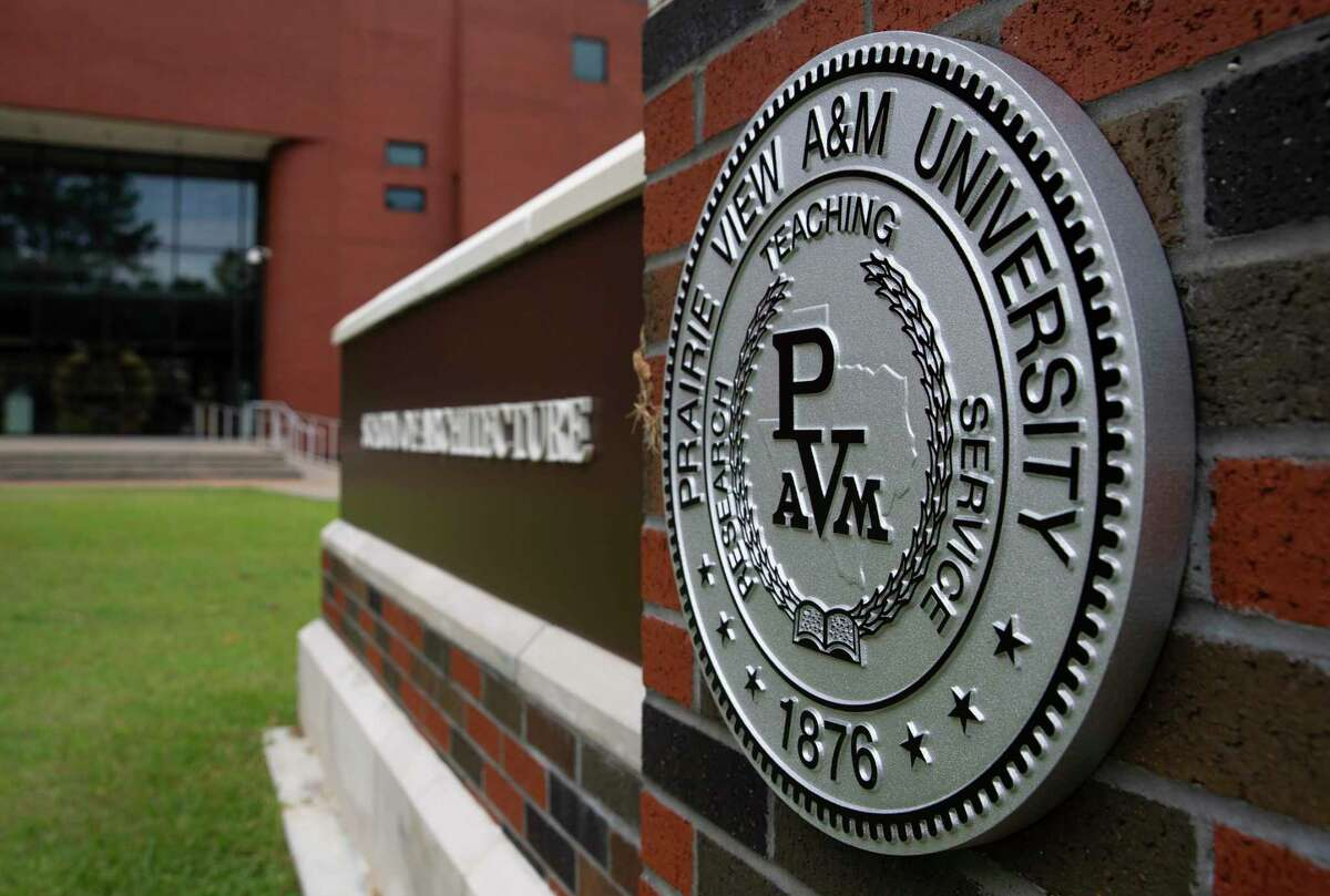 The Prairie View A&M University's school logo is photographed Thursday, June 25, 2020, in Prairie View.