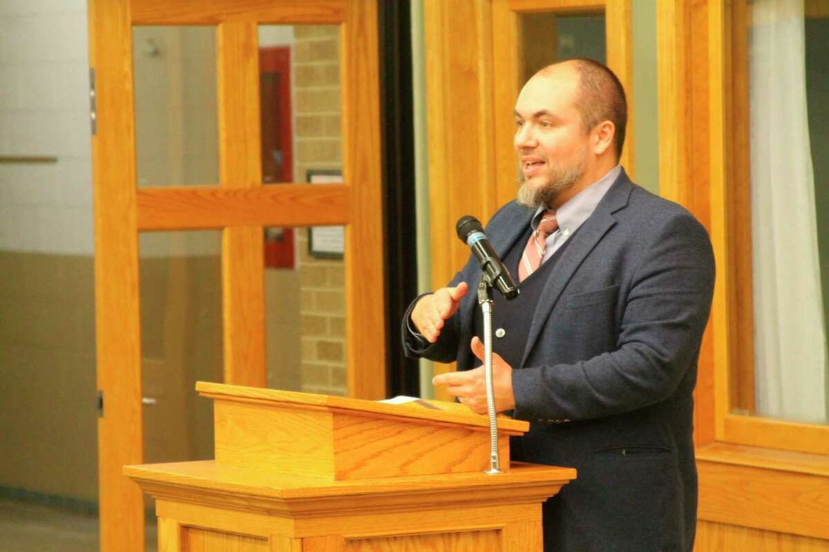 Manistee Catholic Central principal Jeremie Solak gives the keynote speech during the 2020 Manistee Catholic Central Hall of Fame Dinner and Awards Presentation. Solak will be leaving the school in July.