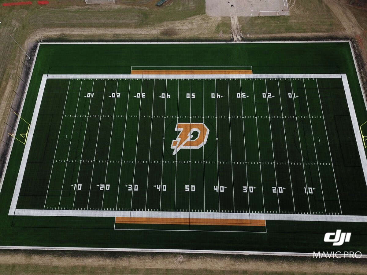 An aerial view of Dow High's new turf field shortly after installation was completed in November, 2020.