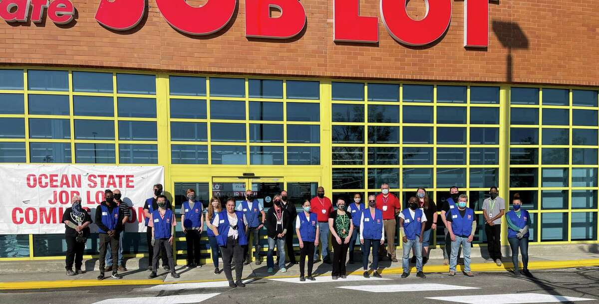 Ocean State Job Lot associates celebrate the grand opening of the new store on Backus Avenue in Danbury, Conn.