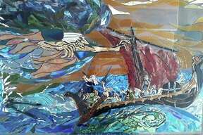 The witch Louhi is depicted raiding a longboat that is carryingVäinämöinen, ahero of Finnish mythology in this mosaic by local artist Tricia Boucha. Two mosaics depicting legendary scenes from the Kalevala will debut in the village of Kaleva in May. (Courtesy Photo/Tricia Boucha)