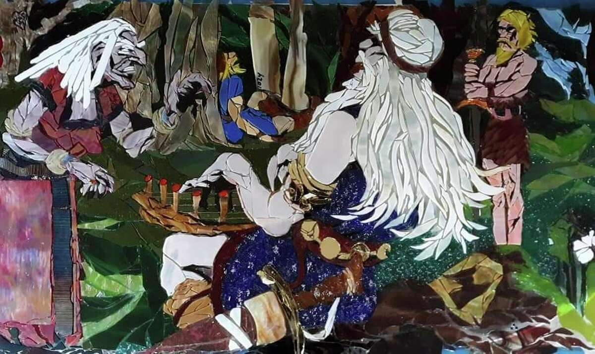 This mosaic depicts the Finnish heroVäinämöinen as he confronts the witch Louhi.Two mosaics depicting scenes from Finnish mythology will debut in Kaleva on May 29. (Courtesy Photo/Tricia Boucha)