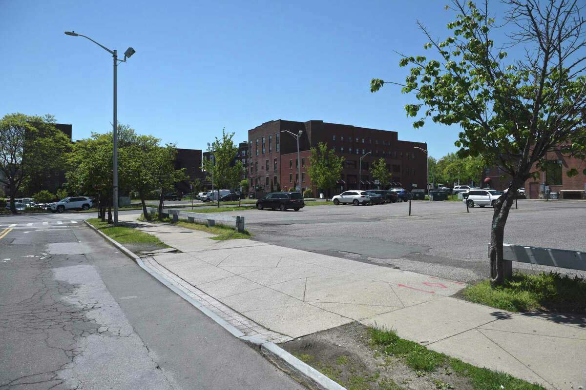 City property at 9-11 Liberty Street at the intersection with Delay Street. Monday, May 17, 2021, in Danbury, Conn.
