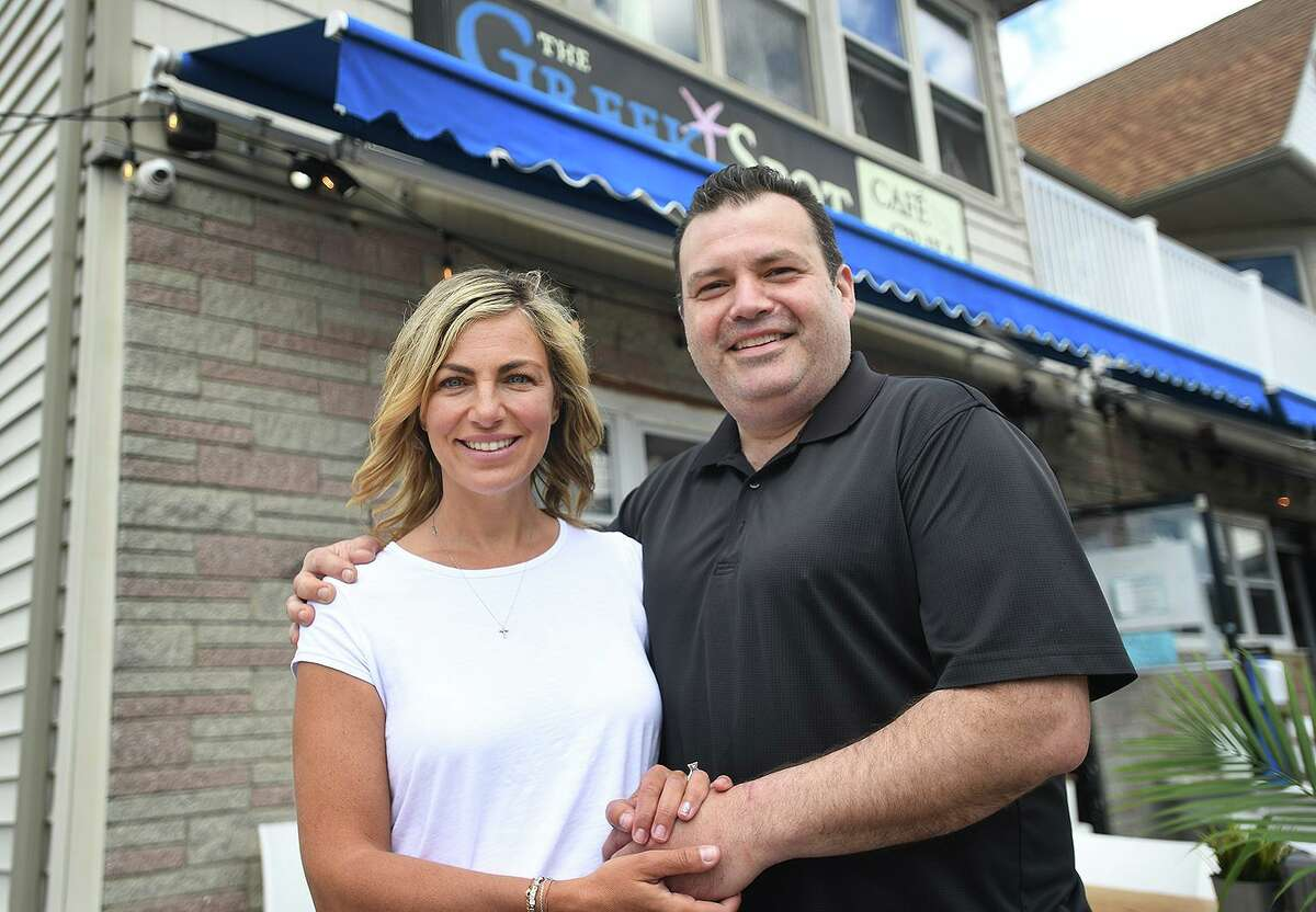Owners Stephanie and Leo Koutikas at The Greek Spot Cafe & Grill on East Broadway in Milford May 13, 2021.