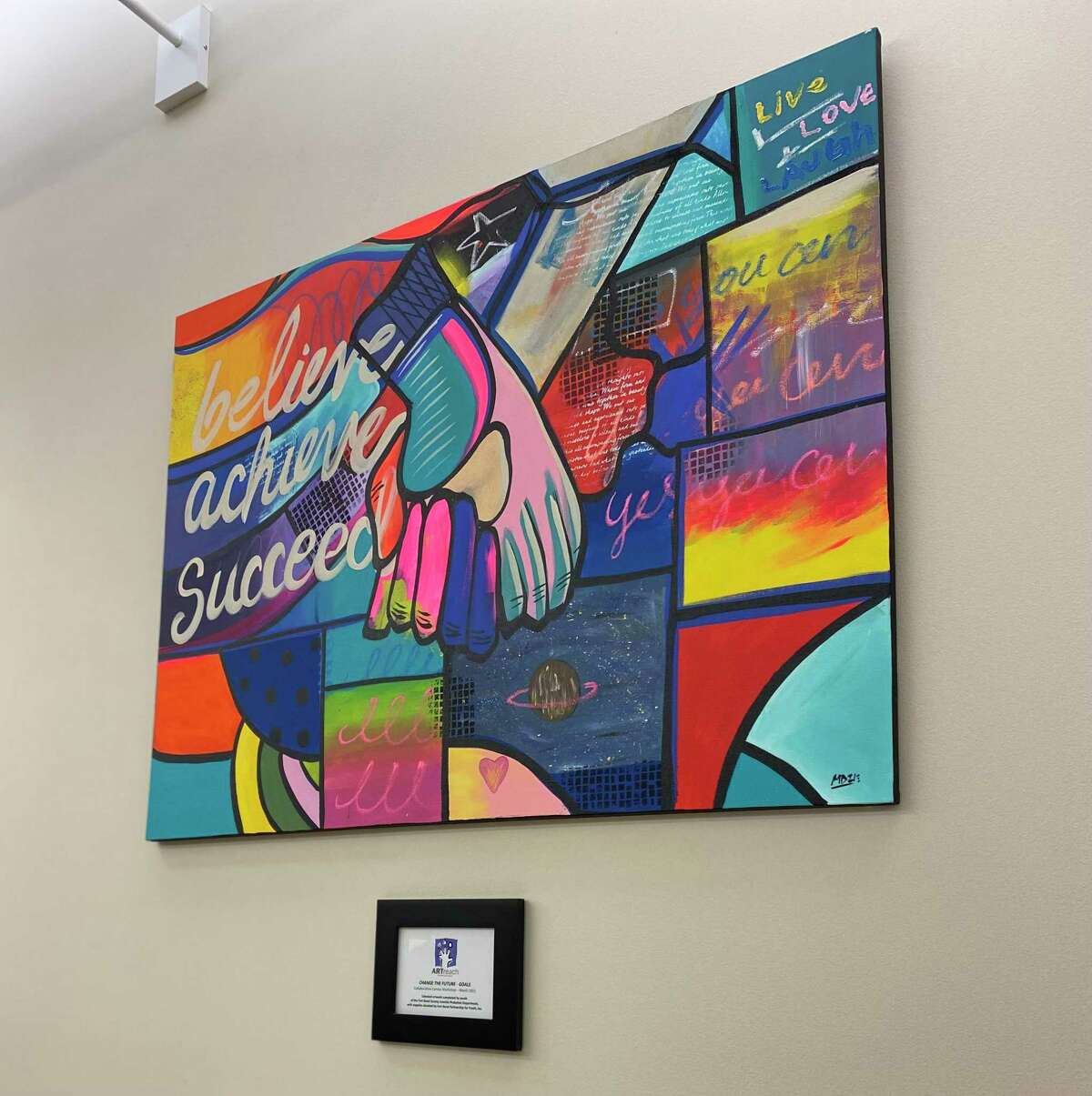 Fort Bend County and ARTreach have partnered to work with at-risk youths inside the Fort Bend County Detention Center. Shown here is one of the first works created by a juvenile inmate, unveiled during a ceremony on Wednesday, May 19, 2021.