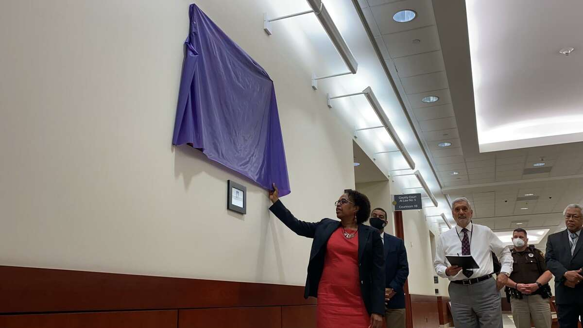 Fort Bend County officials turned out for the unveiling of art work produced by juvenile inmates at the Fort Bend County Detention Center on Wednesday, May 19, 2021. Fort Bend County and ARTreach have partnered to work with at-risk youths inside the center.