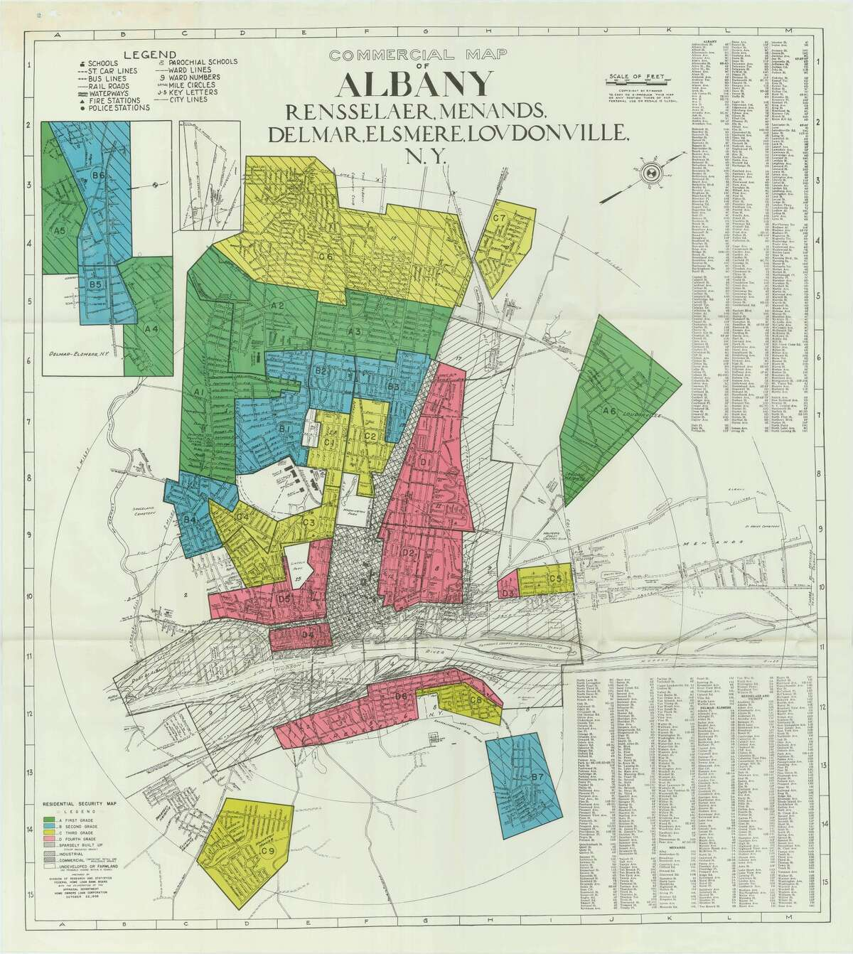 """The roots of Albany's disparities can be seen as far back as 1938, when parts of the city were """"redlined"""" as part of a post-Depression survey conducted by the federal Home Owners' Loan Corp. Officials composed maps of hundreds of U.S. cities that categorized certain neighborhoods based on what local banks and realtors perceived to be the market for real estate investment. Those deemed too risky for investment were shown in red."""