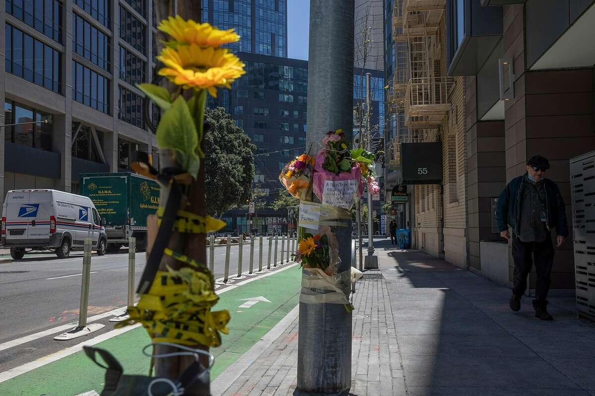 A memorial for Lovisa Svallingson at Polk Street and Hayes Street in San Francisco.