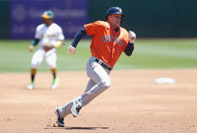 OAKLAND, CALIFORNIA - MAY 20: Myles Straw #3 of the Houston Astros rounds third base on his way top score on a double by Martin Maldonado #15 in the top of the third inning against the Oakland Athletics at RingCentral Coliseum on May 20, 2021 in Oakland, California. (Photo by Lachlan Cunningham/Getty Images) Photo: Lachlan Cunningham/Getty Images / 2021 Getty Images