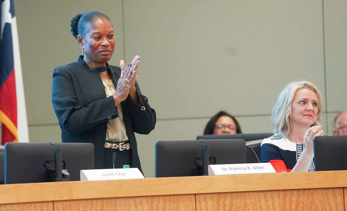 Houston ISD Board President Pat Allen, pictured at left, and the district's other nine trustees are scheduled to vote Friday morning on a lone finalist for the district's superintendent position. Interim Superintendent Grenita Lathan has held the top job since March 2018, but she will depart in June to take over Springfield Public Schools in Missouri.