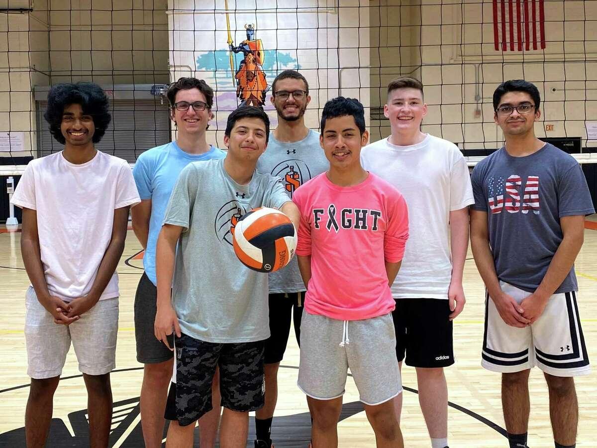 Stamford High senior boys volleyball players, in no particular order: Siddarth Kumar, Carlos Manzo, Panayiotis Ketonis, Gerson Mendez, Kai Blackwell, Danny Ryan and Tarun Shiriram at practice on Thursday in Stamford, Conn.
