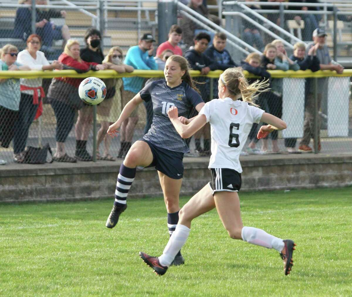Manistee's Allison Kelley looks to gather the ball during the Chippewas' loss to Ludington on Wednesday night at Chippewa Field. (Dylan Savela/News Advocate)