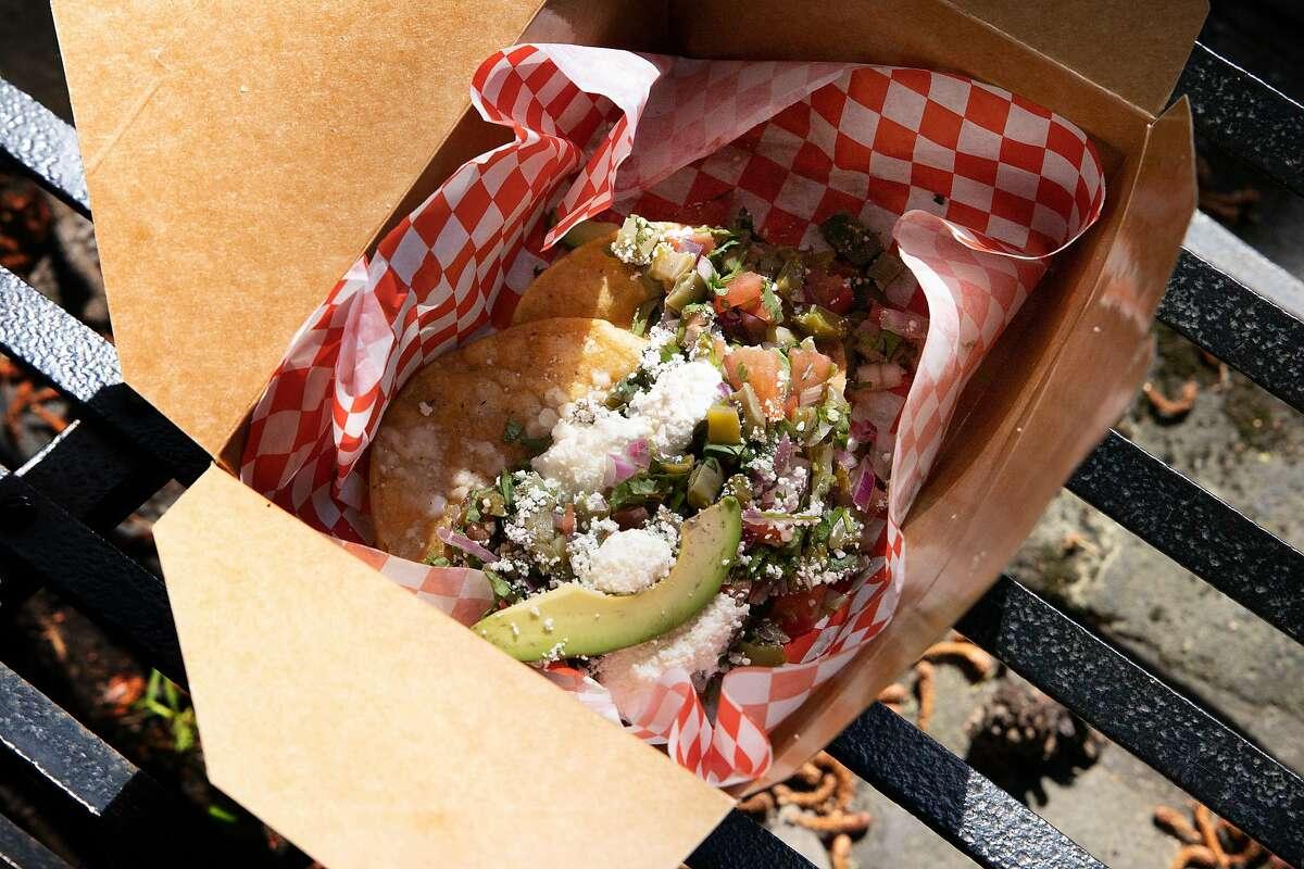 Los Cilantros: nopal tostadas. it's a restaurant i La Cocina's Municipal Marketplace on Wednesday, May 19, 2021 in San Francisco, Calif.