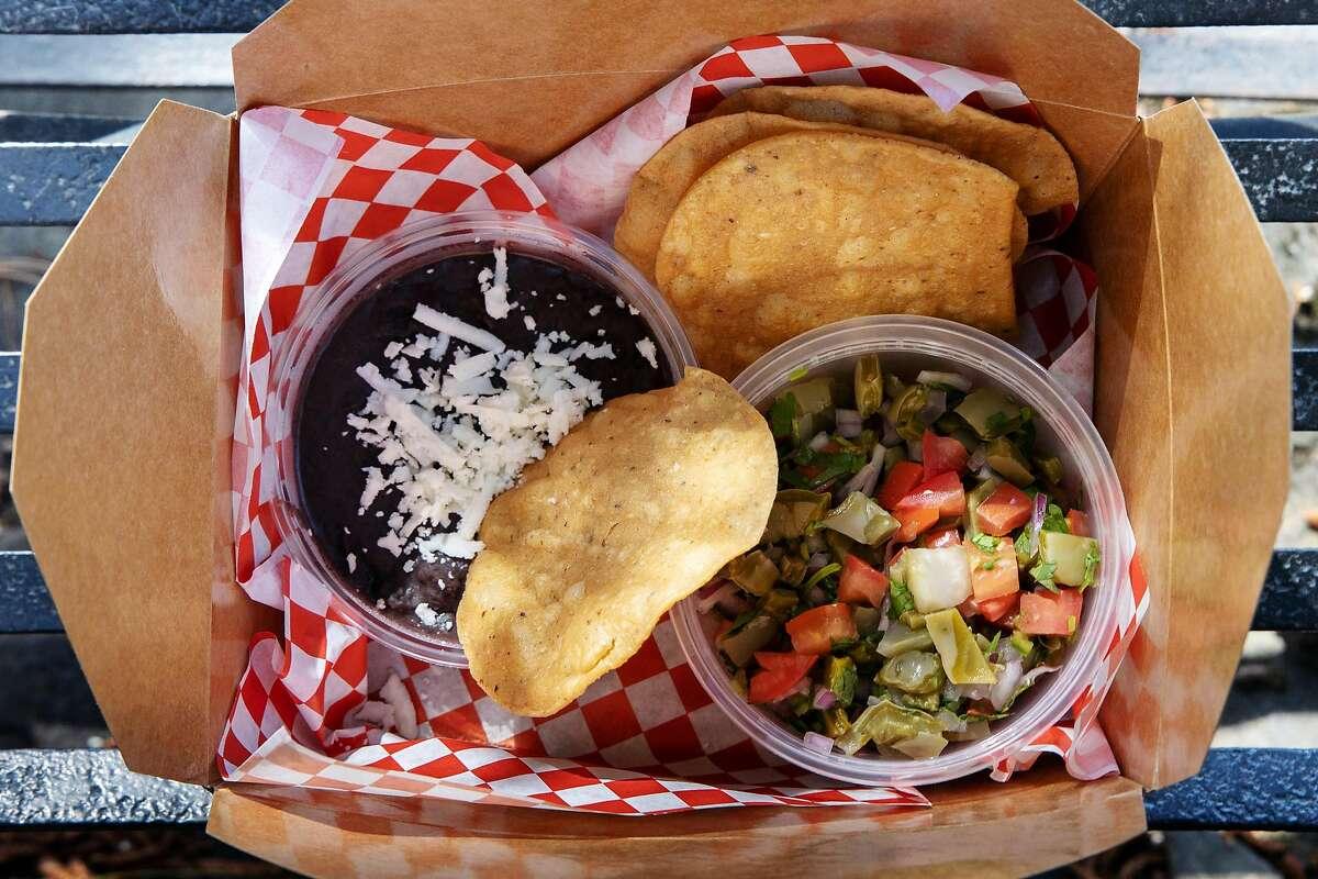 Los Cilantros' Nopal Tostadas, a restaurant in the La Cocina urban market square on Wednesday, May 19, 2021 in San Francisco, California.