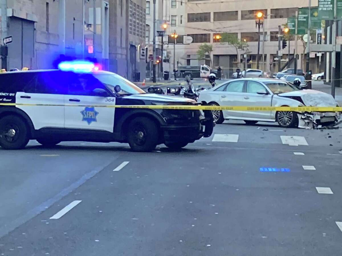 The scene at Hayes and Polks streets on Tuesday where a motorist fatally struck software engineer Lovisa Svallingson and critically injured another pedestrian in a hit-and-run.