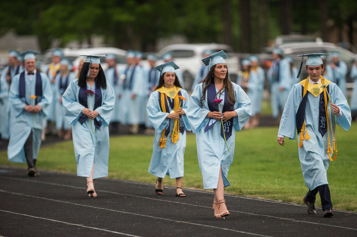 The Meridian Early College High School Class of 2021 celebrate with a commencement ceremony Thursday, May 20, 2021 at the school in Sanford. (Katy Kildee/kkildee@mdn.net)