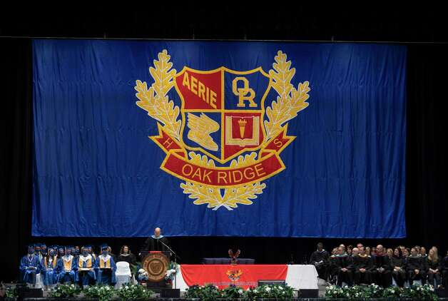 The stage of Oak Ridge High School's graduation ceremony is seen at the Cynthia Woods Mitchell Pavilion, Thursday, May 20, 2021, in The Woodlands. Photo: Gustavo Huerta, Houston Chronicle / Staff Photographer / Houston Chronicle © 2021