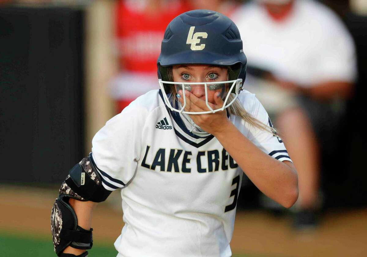 Payton Bauer #3 of Lake Creek reacts after a foul ball nearly hit Bre Hagerty during a one-game Region III-5A semifinal at Grand Oak High School, Thursday, May 20, 2021, in Spring.