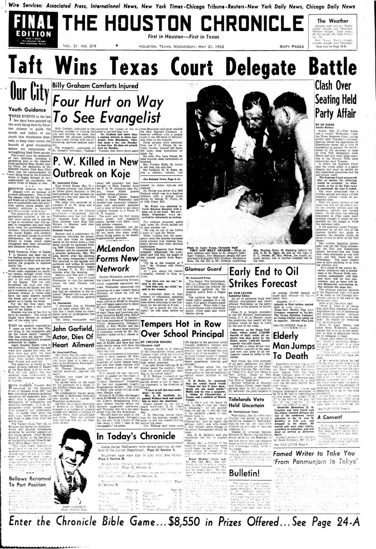 Houston Chronicle front page from May 21, 1952.