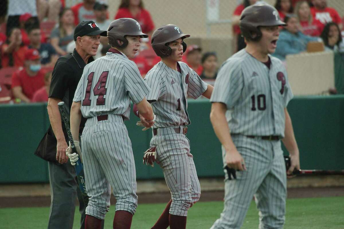 Pearland's Brett Smajstrla (14), Pearland's Anthony Avalos (1) and Pearland's Conner DeLeon (10) celebrate a run scored against North Shore Thursday, May 20 at the University of Houston.
