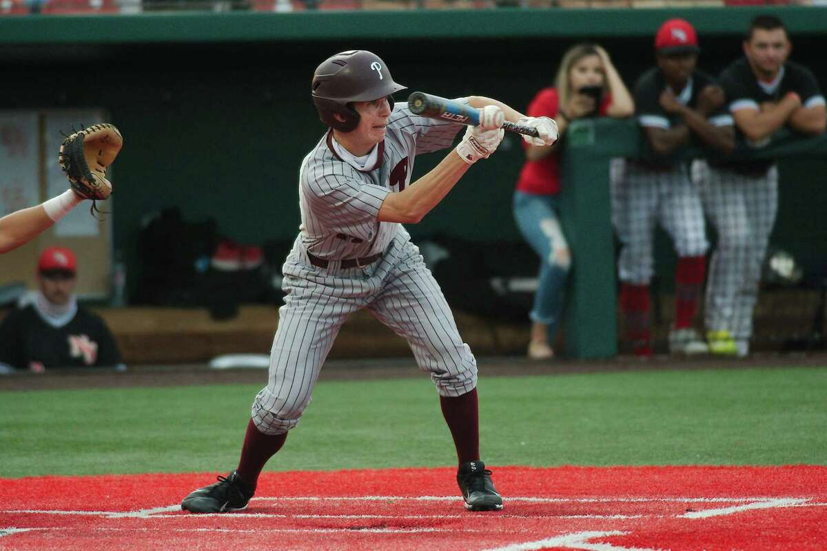 Pearland's Brett Smajstrla (14) puts down a bunt against North Shore Thursday, May 20 at the University of Houston.