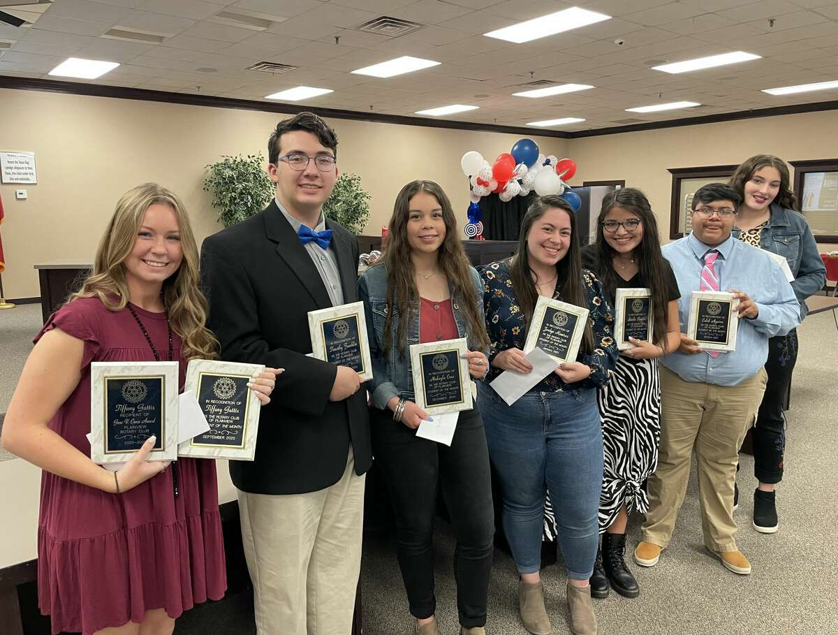 Plainview Rotarians recognized the club's Students of the Month Tuesday and awarded them scholarships. Students are: Gene V. Owen Memorial Scholarship winner Tiffany Gattis (left), Timothy Franklin, Makayla Cruz, Jordyn Ramirez, Starlie Parrish, Caleb Aguirre and Monet Parker. Not pictured is Martin Guzman.
