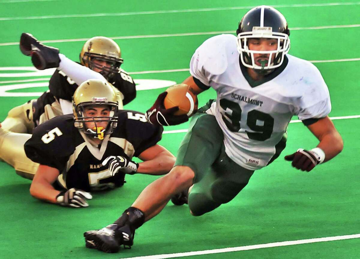 Gabe Ostrow (5), playing for Nanuet, is seen in the 2009 state high school semifinals against Schalmont. Ostrow, 29,has made the roster for the 2021 Albany Empire of the National Arena League. (John Carl D'Annibale / Times Union)