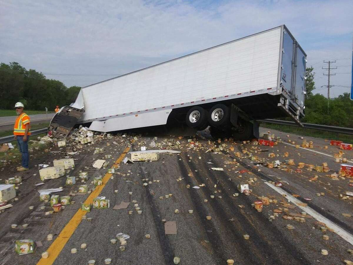 The westbound side of the Thruway is closed in German Flatts and traffic is being diverted off the highway at Exit 29A in Little Falls after a tractor trailer crashed across highway lands and spilled its cargo, State Police said.