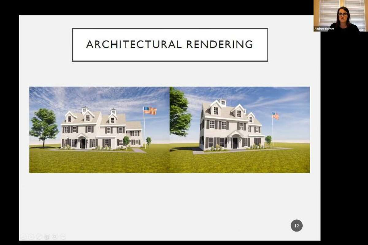 Attorney Andrea Gomes shows the Trumbull Planning & Zoning Commission an artist rendering of the proposed renovations to the Daniel Hawley House on Daniels Farm Road.