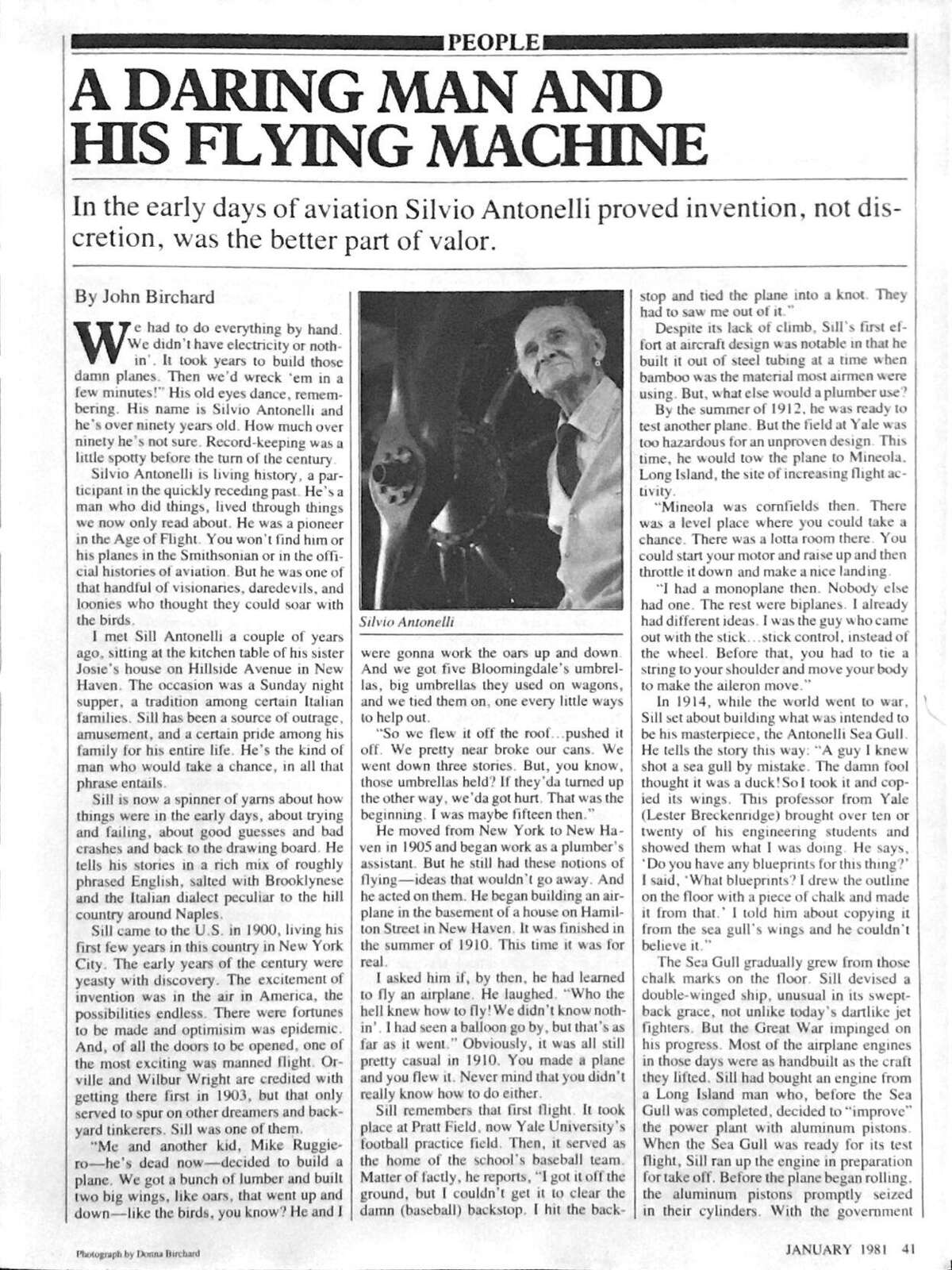 """In this CT Magazine article from January 1981, titled """"A Daring Man and His Flying Machine,"""" we meet ninety-something-year-old Silvio Antonelli, who gives a first-hand account on the frontier of manned aviation."""