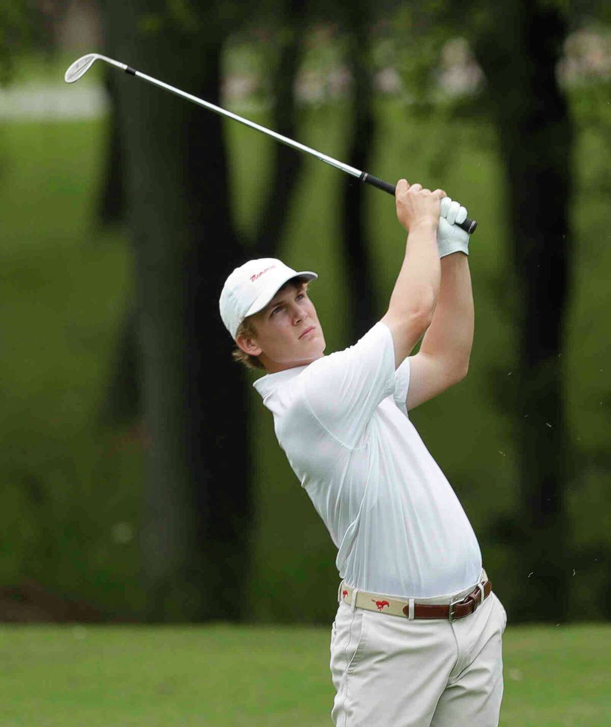 Preston Rouse of Memorial watches his second shot from the 9th fairway during the Class 6A UIL State Golf Championship at Legacy Hills Golf Club, Tuesday, May 18, 2021, in Georgetown.