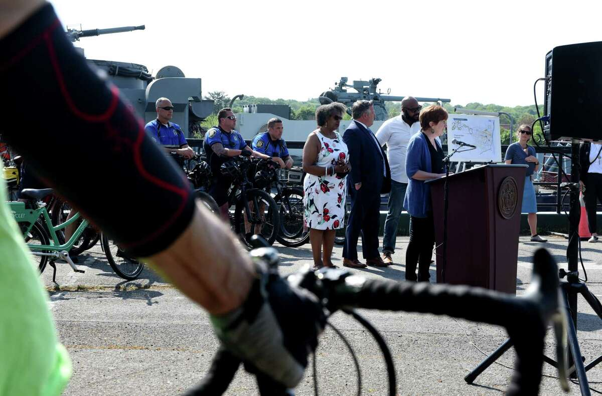 Albany Mayor Kathy Sheehan announces an update to the Bicycle and Pedestrian Master Plan, which provides a vision and blueprint to make the City more bicycle and pedestrian friendly on Friday, May 21, 2021, during a press conference at the USS Slater dock in Albany, N.Y. (Will Waldron/Times Union)