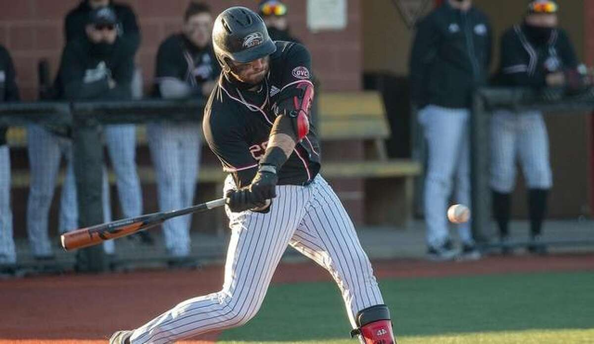 SIUE's Ole Arnston connects for a home run during Thursday's home game against Tennessee Tech inside Roy E. Lee Field in Edwardsville.