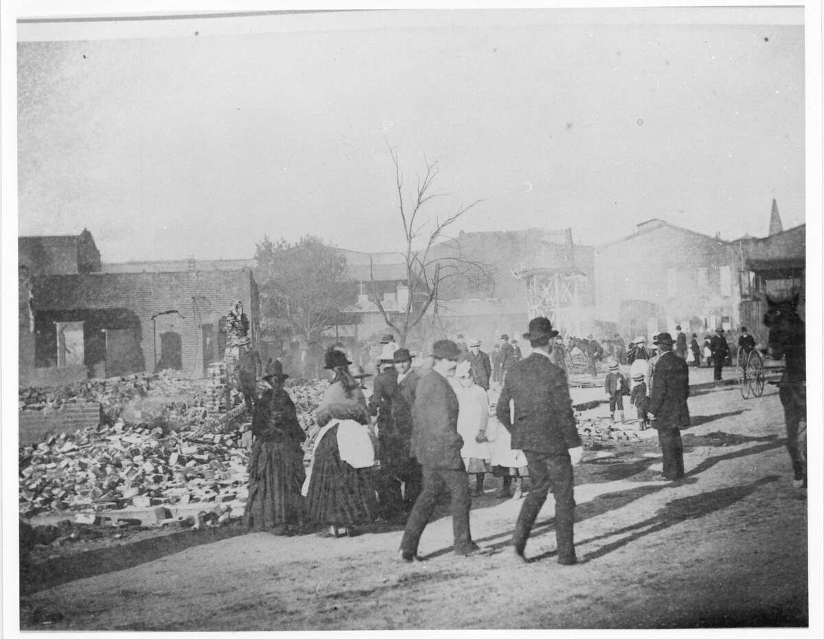 Market Street Chinatown after the 1887 fire.