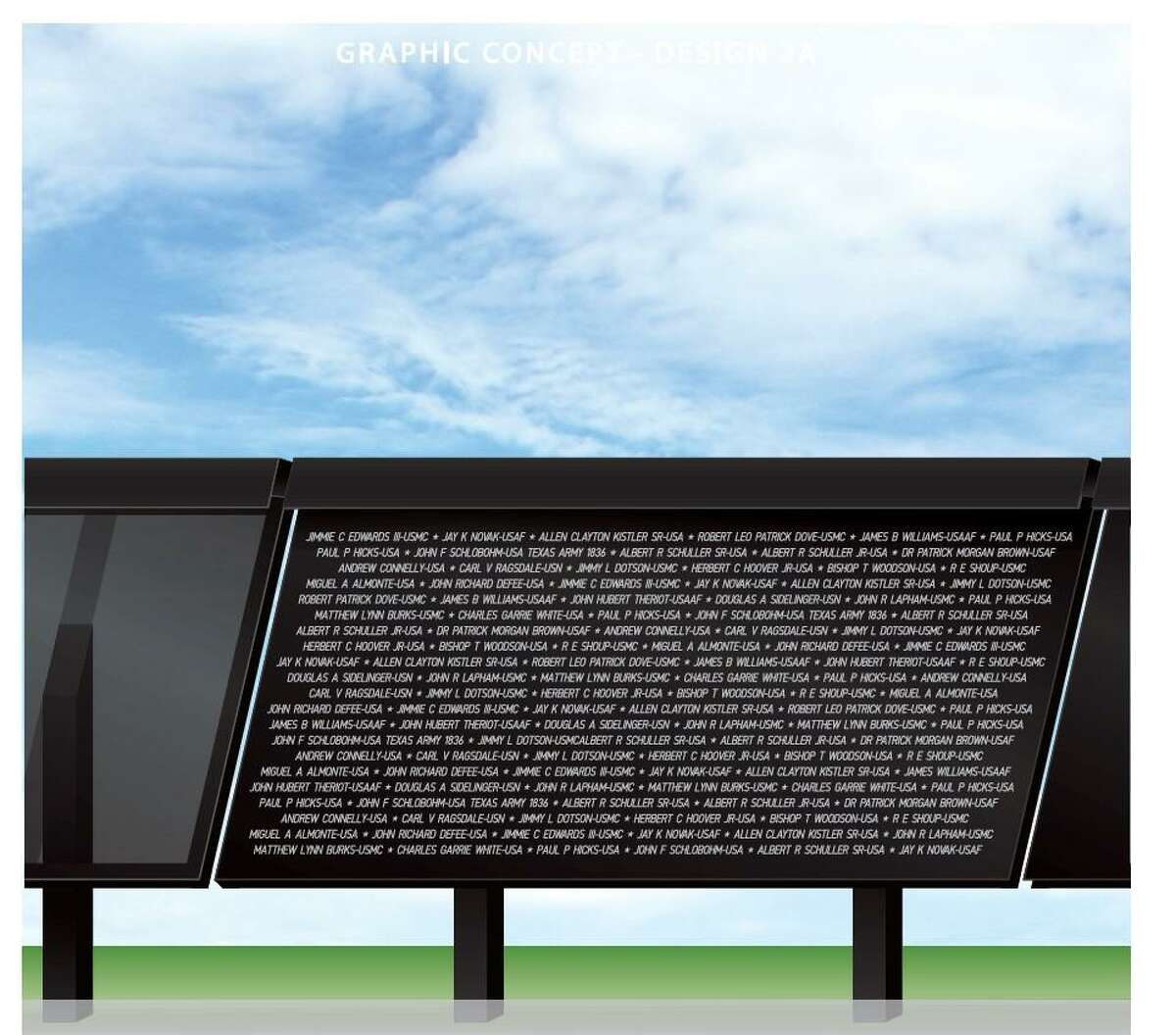 """""""The Line"""" monument at the Montgomery County Veteran's Memorial Park will honor those with military service past and present.Members of the community have been able to submit the name or names of their loved one with military service and their name will be featured on panels as a part of """"The Line"""" monument at Veteran's Memorial Park."""