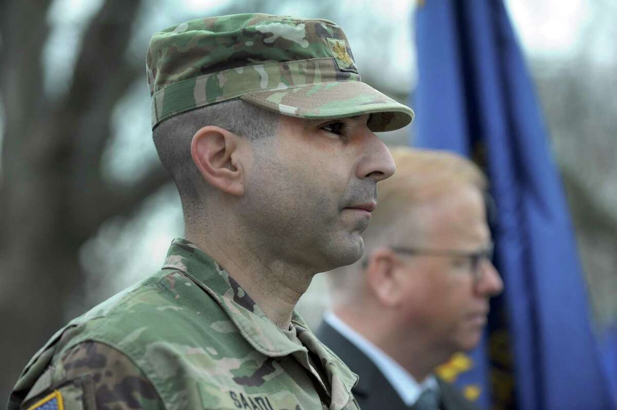 File photo. Major Tom Saadi of Danbury, now a lieutenant colonel with the U.S. Army Reserve, and Connecticut's commissoner of veterans affairs, at a ceremony to remember Vietnam veterans held at Rogers Park, Thursday, March 29, 2018.