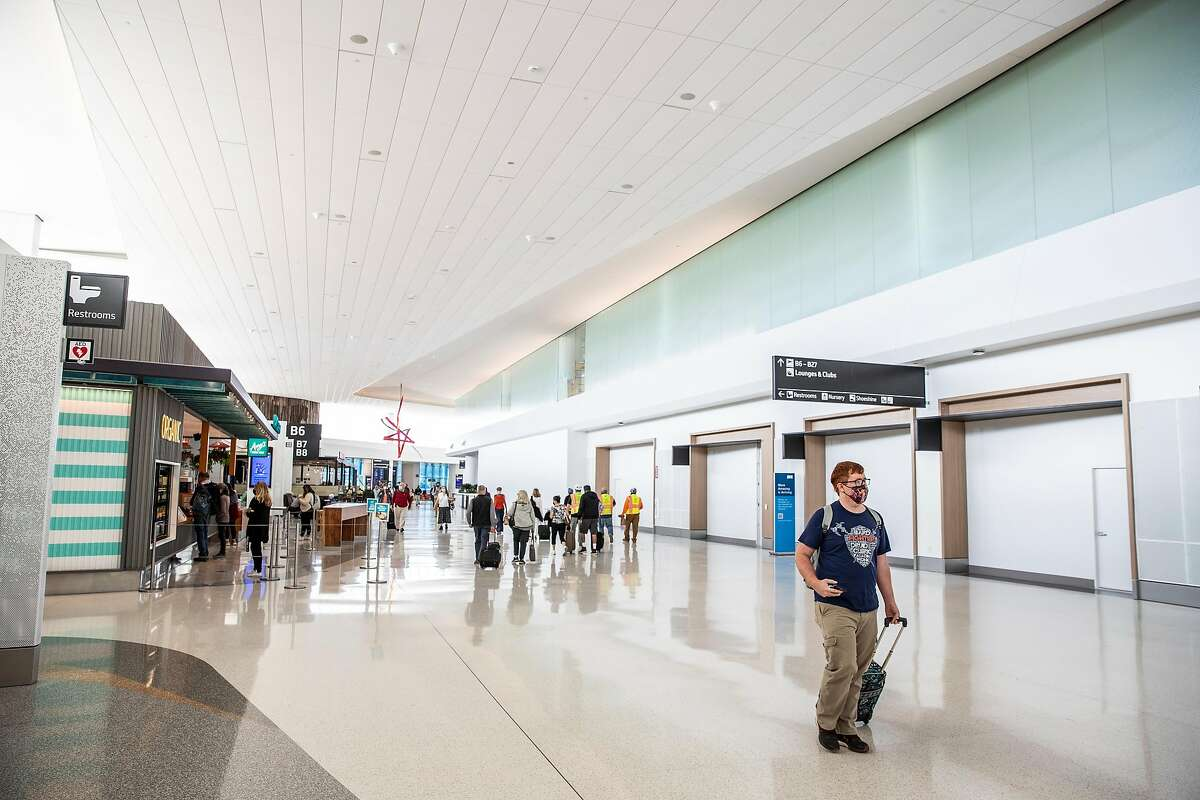 An interior view of the Harvey Milk Terminal 1 at San Francisco International Airport. The terminal is named after the slain politician and civil rights leader.