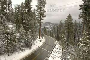 A screenshot from a highway camera on Highway 50 at Echo Summit.