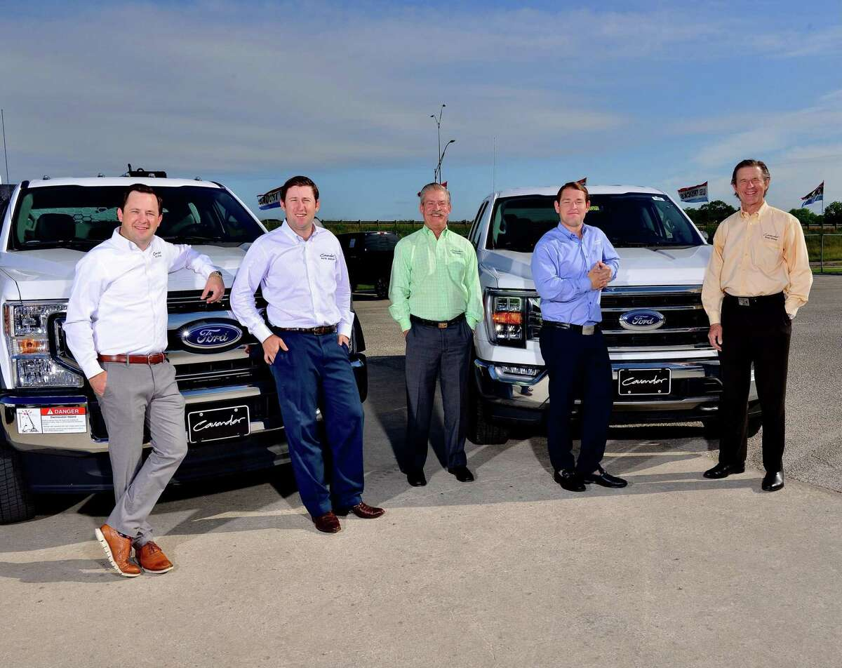 Rob, left, Lee, Billy, W.B. and Bobby Cavender add Ford to their family's auto dealership empire in San Antonio.
