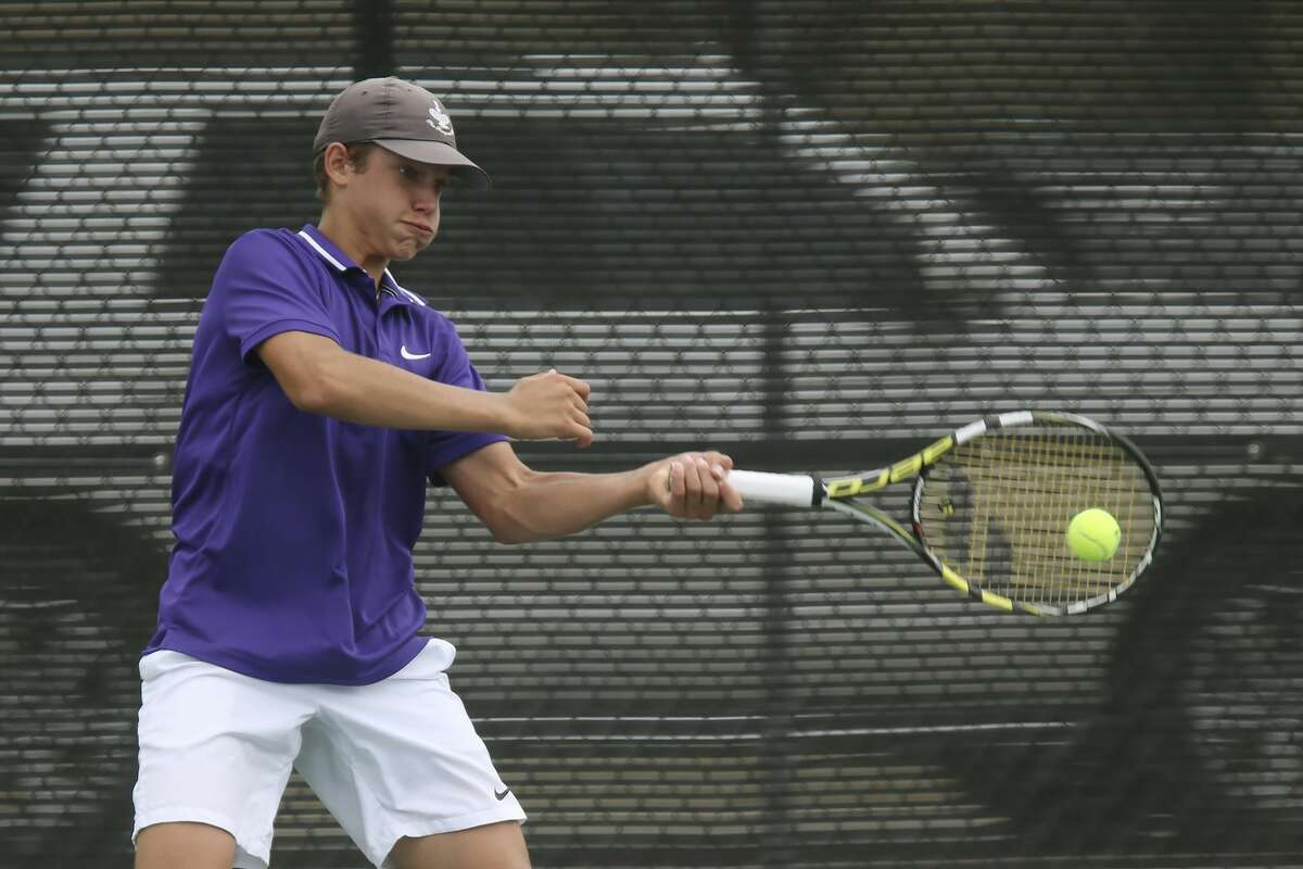 Midland's Tyler Stewart returns a volley during the UIL District 6A Championship match against Waco Midway's Brendan Boland in San Antonio, Friday, May 21, 2021. Stewart went on to take the state title, 4-6, 6-1, 6-2.