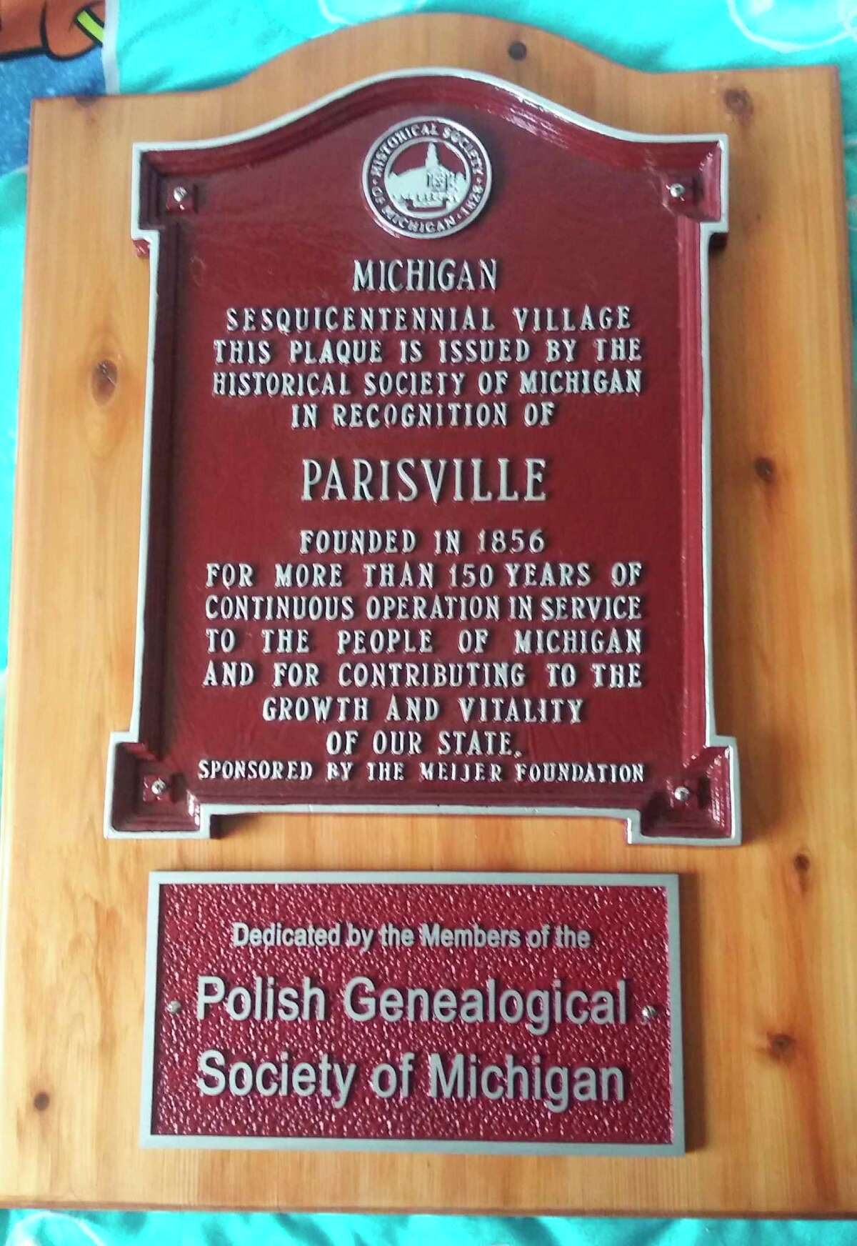 The plaque that will be placed in Parisville on June 5. (Roger Laske/Courtesy Photo)