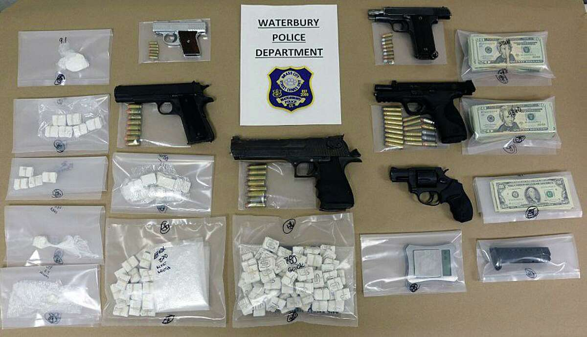 Items seized during an arrest in Waterbury, Conn., on Thursday, May 20, 2021.