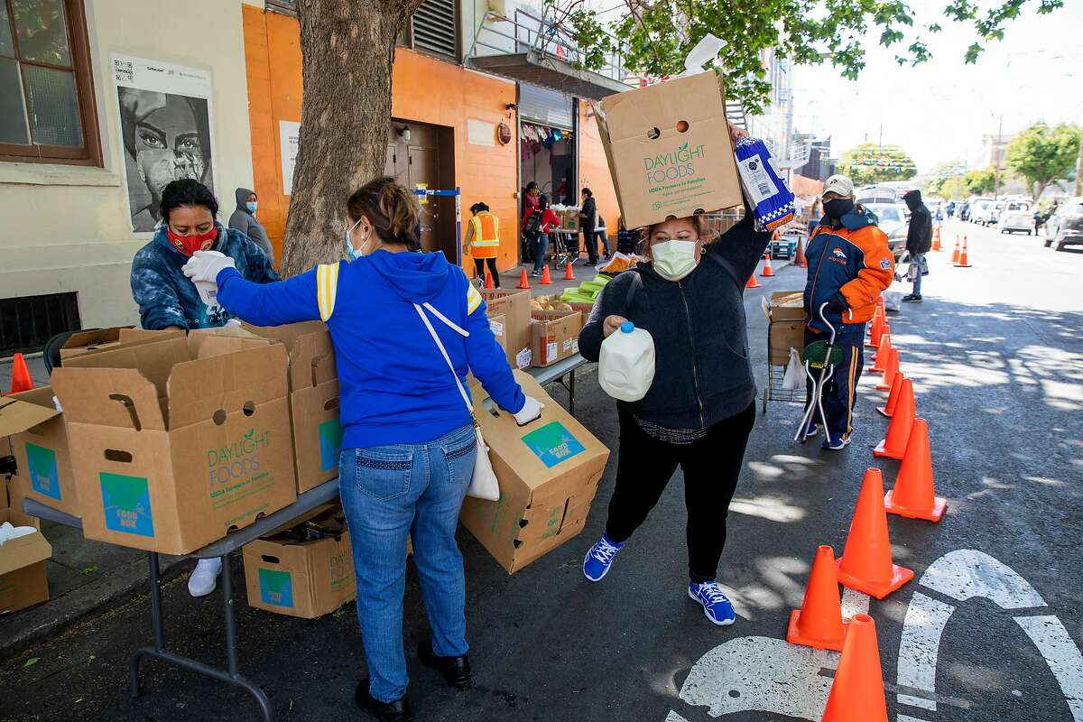 Volunteers at Mission Food Hub on Alabama Street hand out groceries. The San Francisco Human Services Agency expects to spend $81 million on food insecurity this fiscal year.