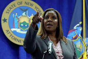 """New York Attorney General Letitia James addresses a news conference at her office, in New York, Friday, May 21, 2021. James said Friday that an ongoing investigation surrounding Gov. Andrew Cuomo will """"conclude when it concludes,"""" and said she has ignored criticism from his top aide that the probe is politically motivated."""