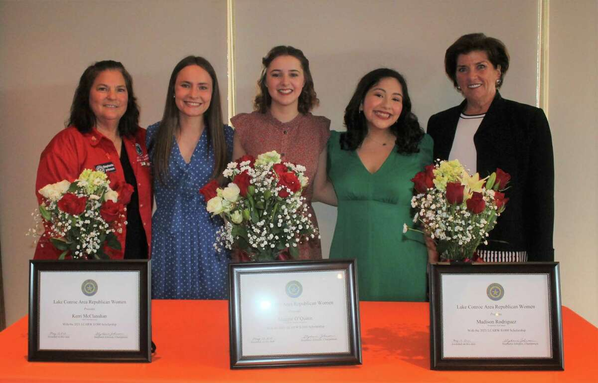 Lake Conroe Area Republican Women honored three outstanding seniors with scholarships at May's General Meeting. Pictured here, left to right: LCARW member Stephanie Johnson, Scholarship winners Kerri McClanahan, Maggie O'Quinn and Madison Rodriquez, Julie Faubel LCARW President.