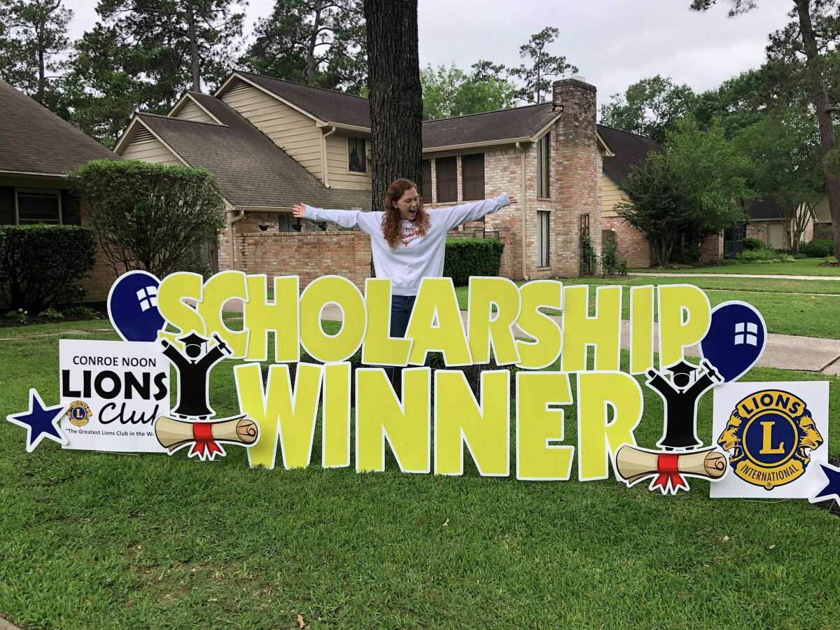 Scholarship Surprise - The Conroe Noon Lions Club surprised 12-local seniors scholarship winners with yard signs to help celebrate their scholastic achievements. Pictured - Rhylee Shaw