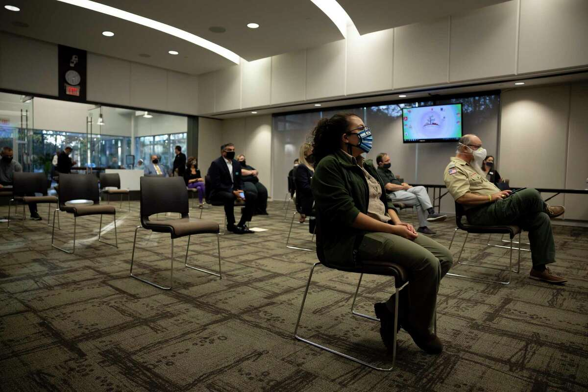 When The Woodlands resumed in-person board meetings in October, chairs were spread 6 feet apart, shown in this file image. Now all COVID-19 safety protocols have been rescinded by the township.