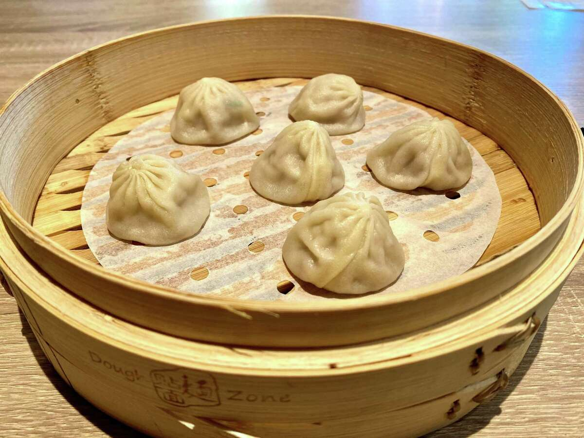 The pork and crab xiao long bao at Dough Zone Dumpling House's new downtown San Mateo location.
