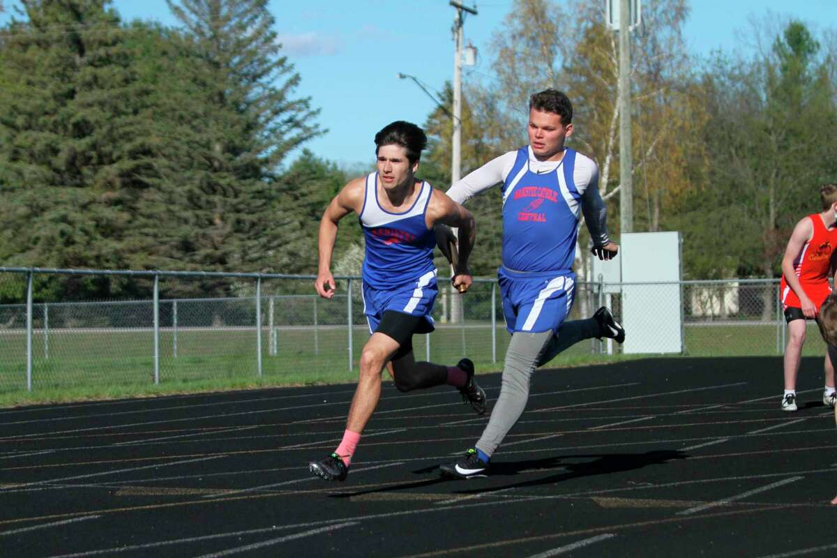 Manistee Catholic Central's Mateo Barnett and Justin Stickney will look to help lead the Sabers to some Division 4 state qualifications on Saturday in a Division 4 regional in Brethren. (News Advocate)